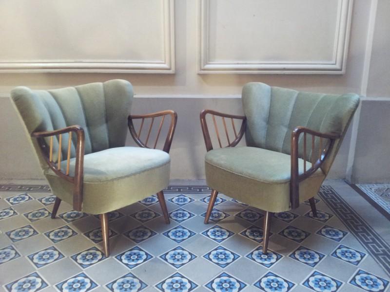 1 fauteuil ann e 50 60 scandinave vert d 39 eau velour. Black Bedroom Furniture Sets. Home Design Ideas